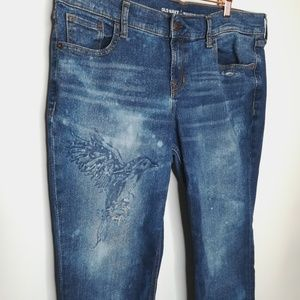 Customized Boyfriend Jeans Bird Bleach Dye Petite
